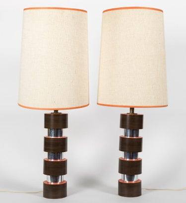Chrome, Lucite and Laminate Lamps (2)
