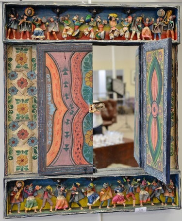Jimenez Retablos Mirror - Figure at Top and Bottom