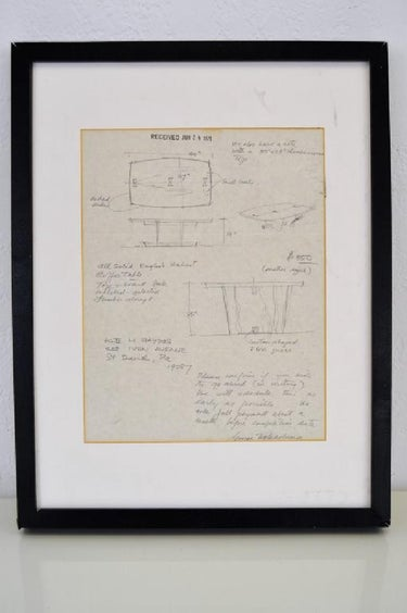 George Nakashima Original Pencil Drawing Signed