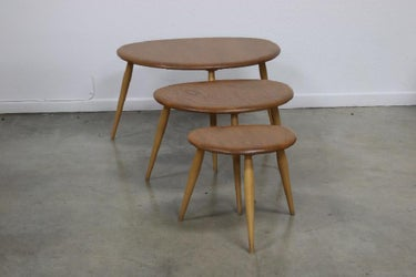 Ercol Mid Century Modern Pebble Nesting Tables (3)
