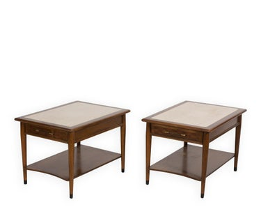 Pair LaneTravertine Marble Top Tables