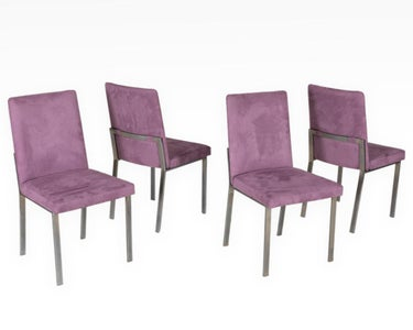 Brushed Steel and Suede Kitchen Chairs (4)