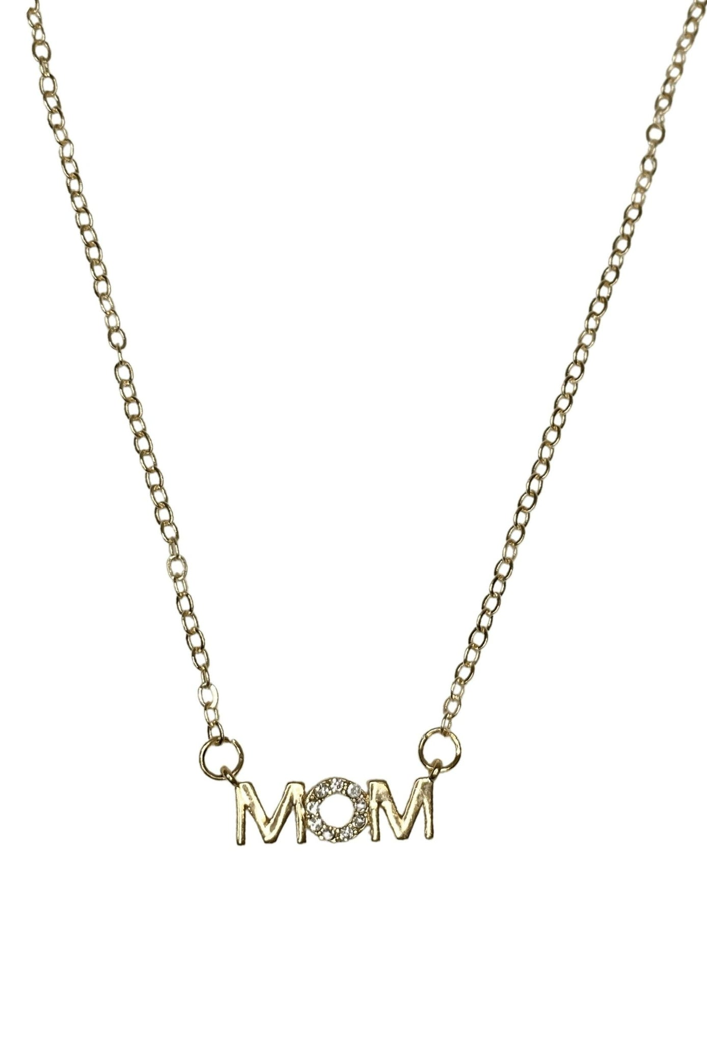 """MOM"" Necklace with Zircon stone  - Gold"