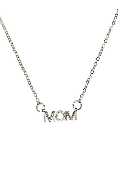 """MOM"" Necklace with Zircon stone  - Silver"