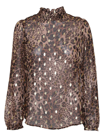 Carmen Blouse - Brown Leopard