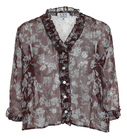 Ebba Shirt - Burgundy Flower