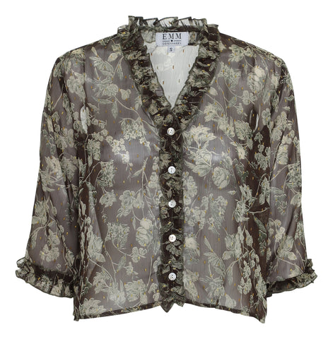Ebba Shirt - Army Flower