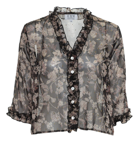 Ebba Shirt - Black Flower