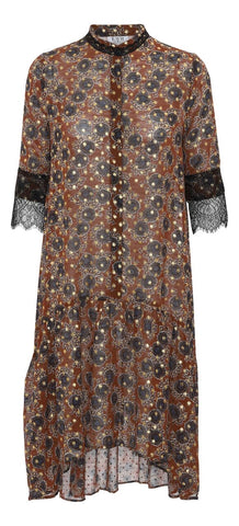 Stella Dress - Brown Flower