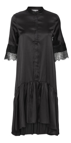 Stella Dress - Black Satin