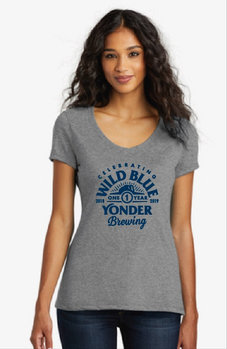 Women's 1 Year Anniversary Grey V-Neck T-Shirt