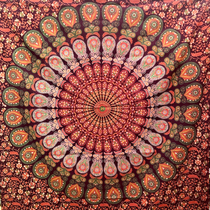 Maroon Mandala Tablecloth