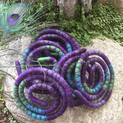 Peacock Wool Felt Spiralocks - Purple Blue and Green
