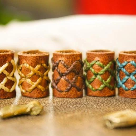 Leather Dreadlock Beads