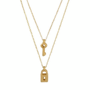 Lock & Key Double Layer Necklace - Bar L Boutique
