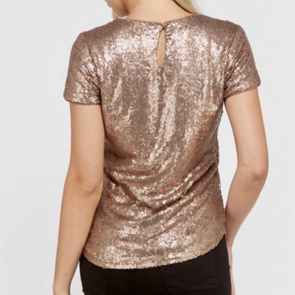 Gold Sequin Top - Bar L Boutique