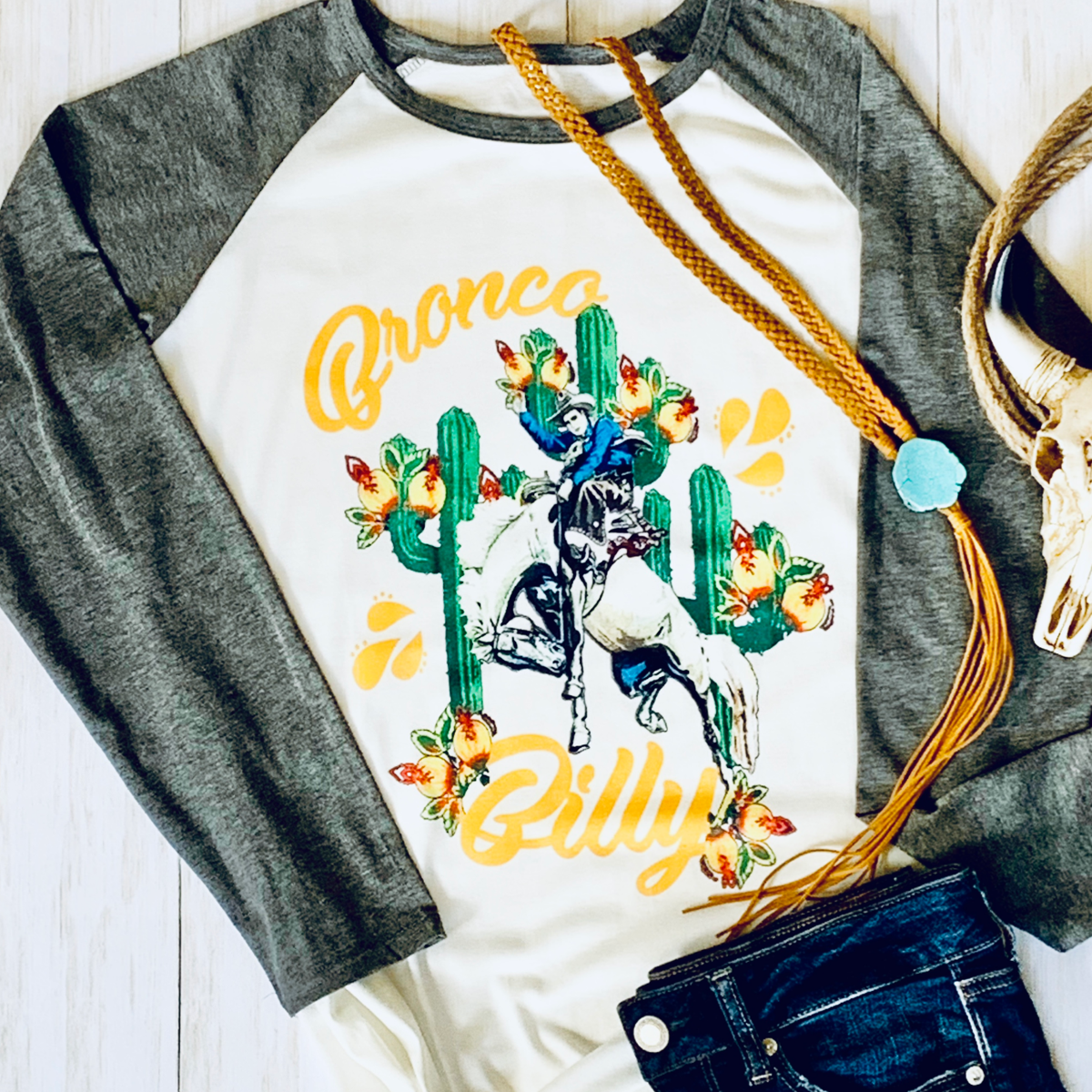 Bronc Raglan Tee - Bar L Boutique