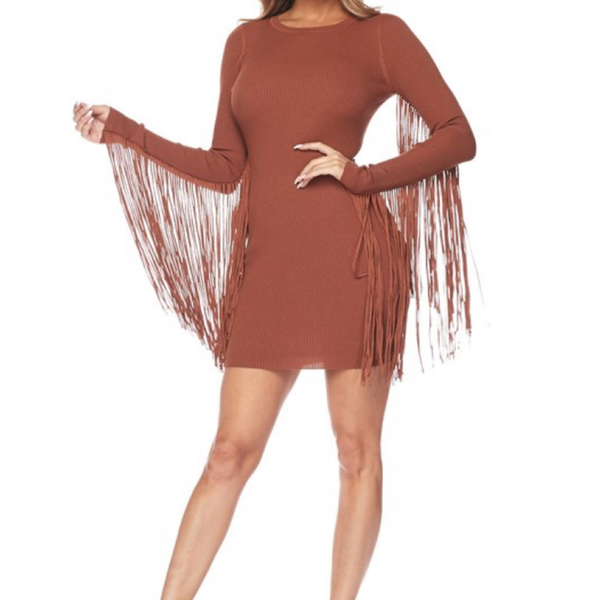 Fringe Sleeve Dress - Bar L Boutique