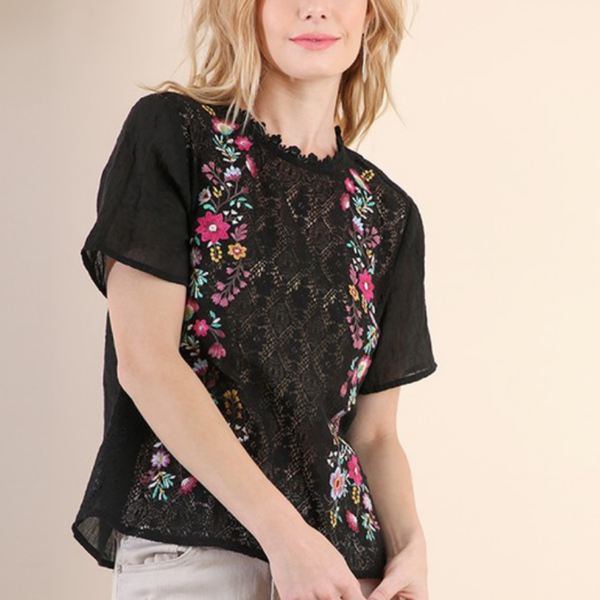 Floral Embroidered Top - Bar L Boutique