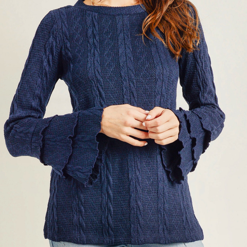 Ruffle Bell Sleeve Sweater Top - Bar L Boutique
