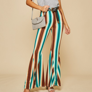 Striped Bell Bottom Pants | Teal - Bar L Boutique