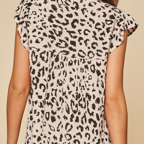 Floral Embroidered Leopard Print Top - Bar L Boutique