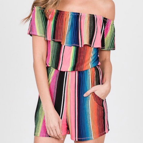 Serape Stripe Off Shoulder Romper - Bar L Boutique