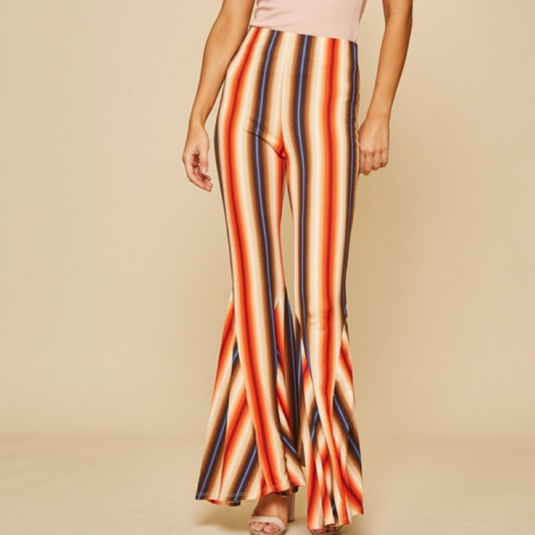 Striped Bell Bottom Pants | Rust