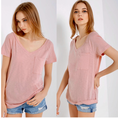 Basic V-Neck T-Shirt | Pink - Bar L Boutique