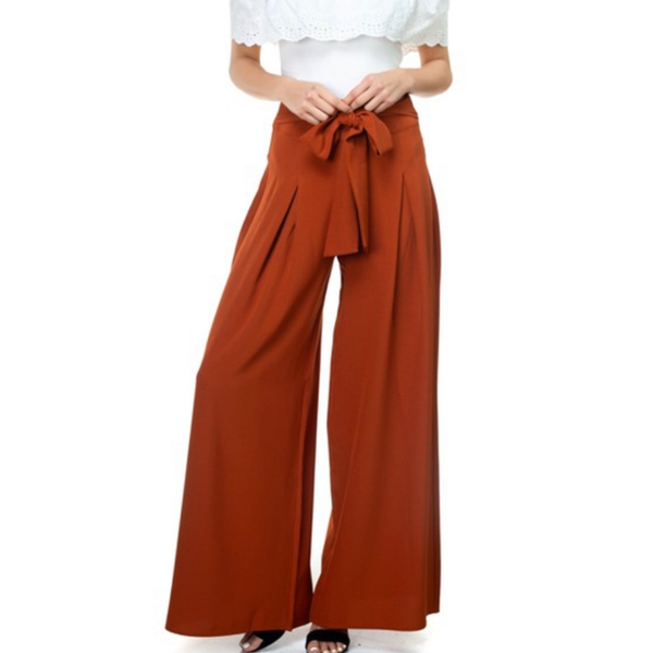 Waist Tie Palazzo Pants | Rust - Bar L Boutique