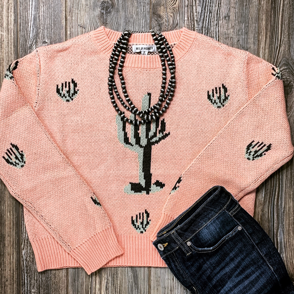 Cactus Print Sweater - Bar L Boutique