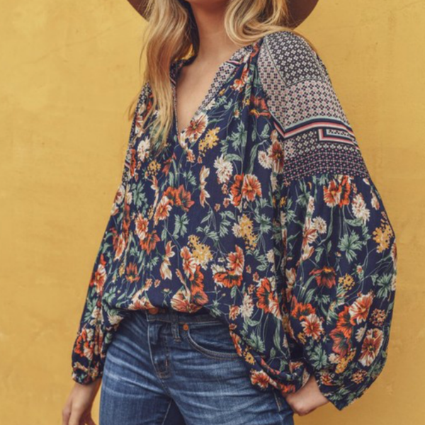 Floral Print Top - Bar L Boutique