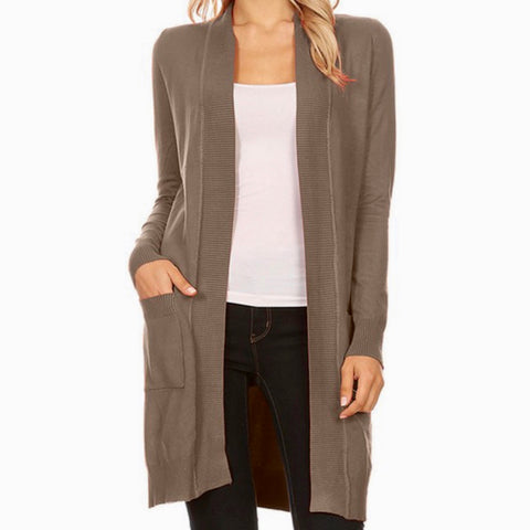 Cardigan Sweater in Mocha - Bar L Boutique