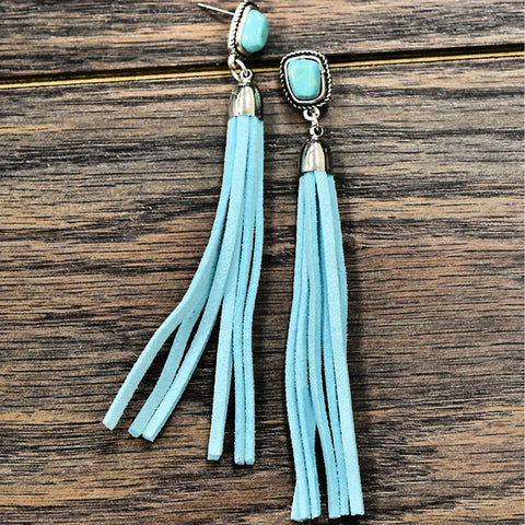 Turquoise Suede Fringe Earrings - Bar L Boutique