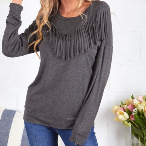 Fringe Detail Pullover - Bar L Boutique