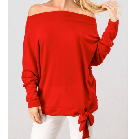 Off Shoulder Bow Detail Sweater - Bar L Boutique