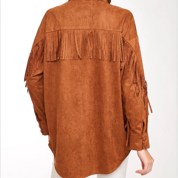 Suede Fringe Top - Bar L Boutique