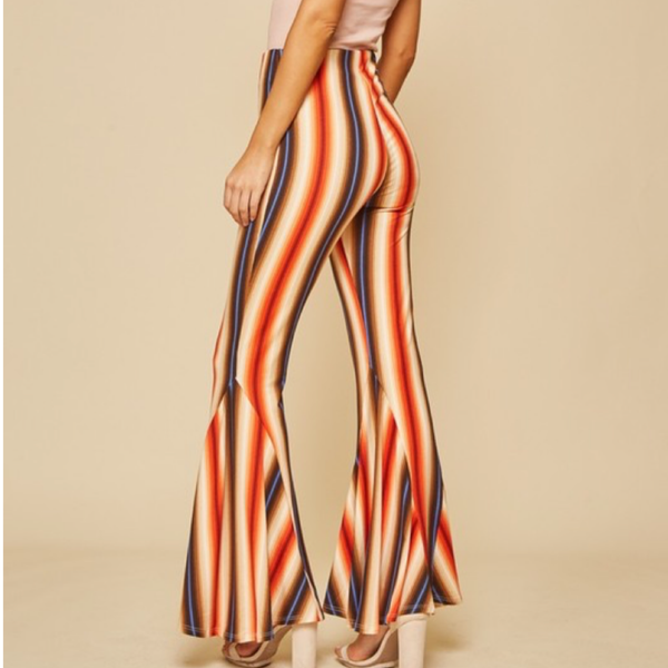 Striped Bell Bottom Pants | Rust - Bar L Boutique