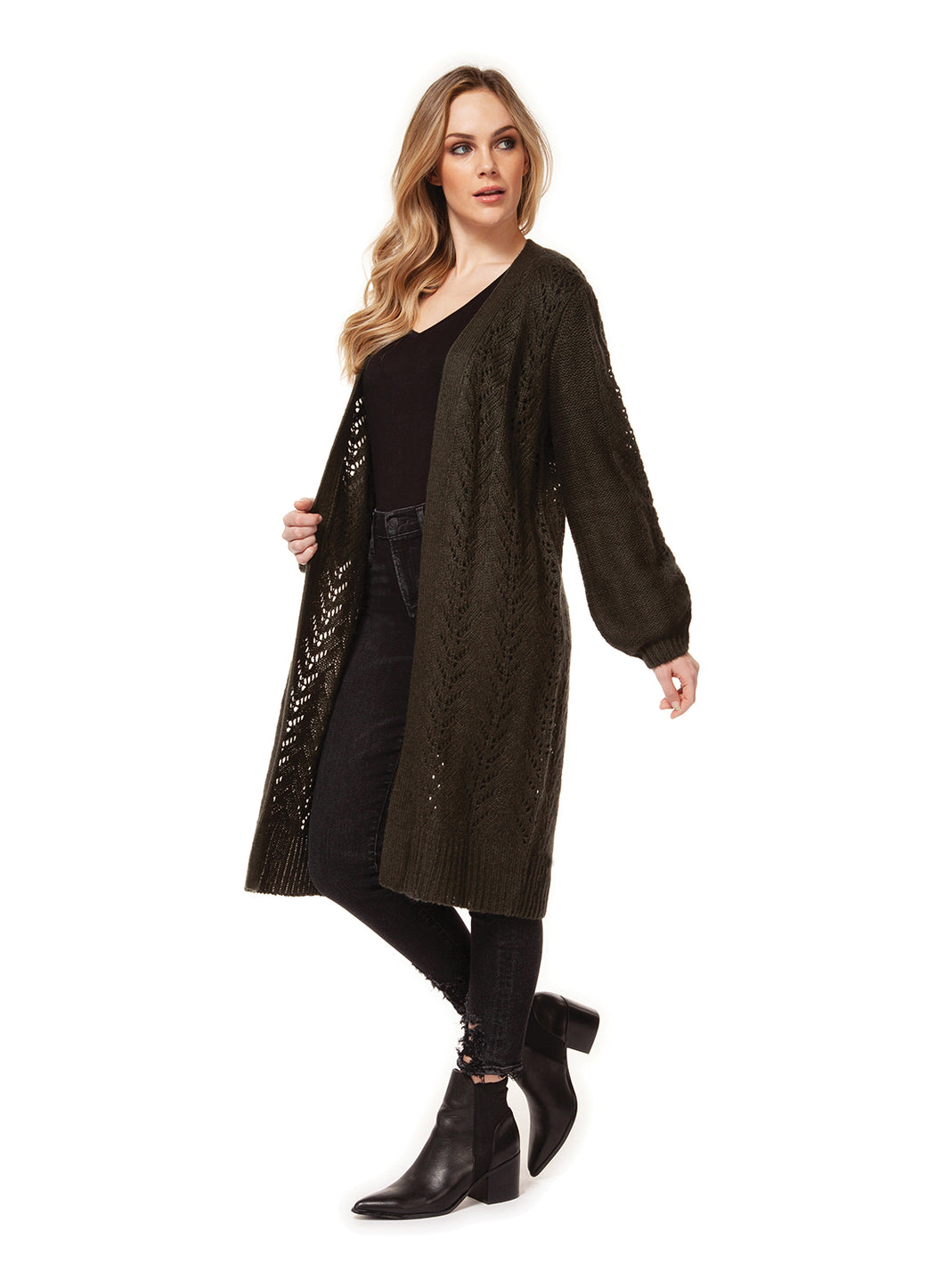 Pointelle Long Balloon Sleeve Cardigan