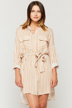 Load image into Gallery viewer, Cliantha Clay Stripe Roll Sleeve Shirt Dress