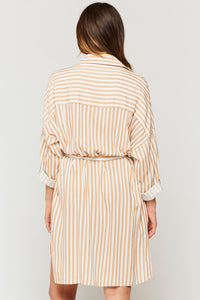 Cliantha Clay Stripe Roll Sleeve Shirt Dress