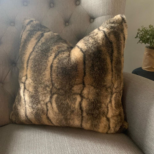 Luxe Faux Fur Tweed Throw Pillow