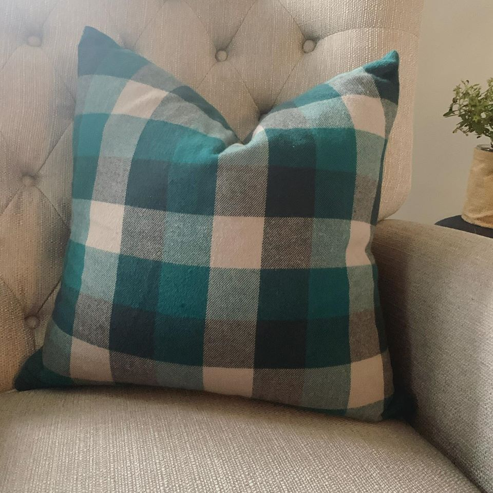 Teal Wool Plaid Cozy Throw Pillow