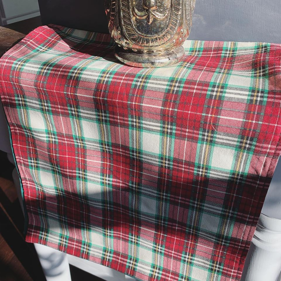 Red and Green Plaid Reversible Table Runner