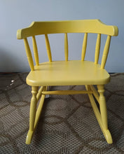 Load image into Gallery viewer, Vintage Yellow Wood Musical Kid's Rocking Chair