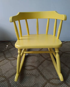 Vintage Yellow Wood Musical Kid's Rocking Chair