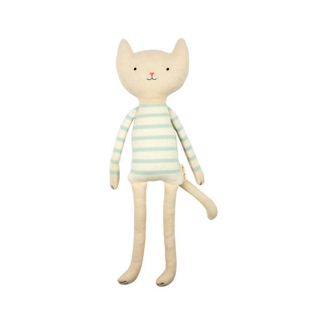 cute cat in blue striped sweater for a toddler