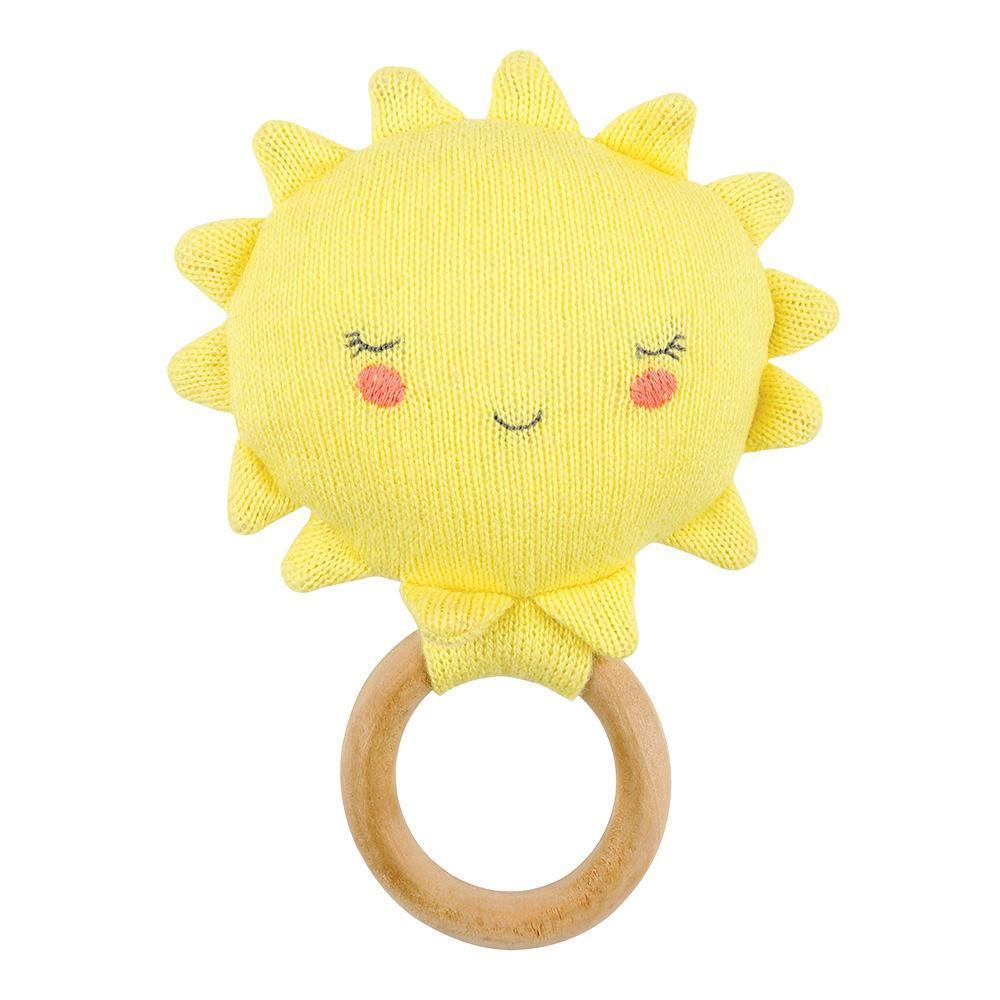 knitted sun and wooden ring teether rattle for baby shower present