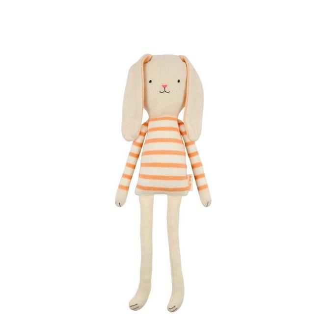 toy bunny with peach striped shirt