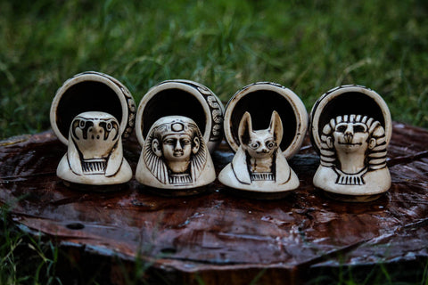 Vintage Set of 4 Canopic Ancient Egyptian Hand-Engraved Storage Jars. Canopy Jars. Ancient Egyptian Canopies. Egyptian Canopic Jars.